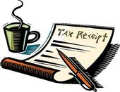 tax receipt and coffee