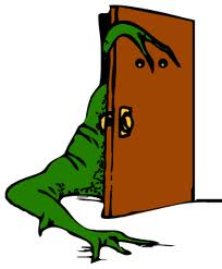door with green thing, wordclipart