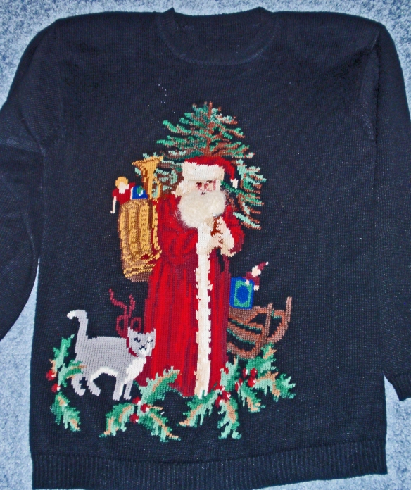 My favorite Santa sweater. Wonderful over velvet pants.