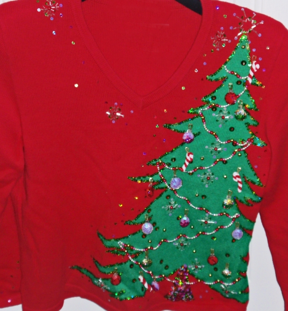 This is the first place winner in an ugly sweater contest. Life is so cruel!