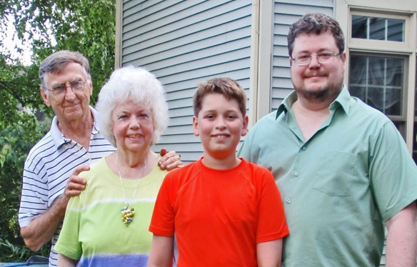 Here he is with his family from left, Tom, wife Betty, grandson Odin and son Marc